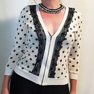 Spoiled lace edged zip polka dot cardigan